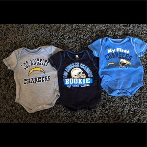 3 pack of Los Angeles Chargers onesies. 0-3 months
